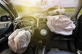 Car Of Accident Make Airbag Explosion Damaged. poster