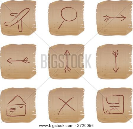 Vector Beige Square Web Buttons Set2