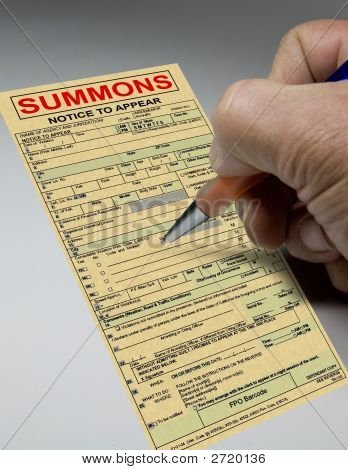 Summons Ticket To Court