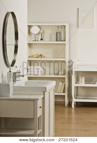 Room with sink, mirror, shelving and cabinets. All white. Vertical