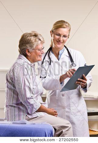 Médico explicando a carta médica a mulher sênior