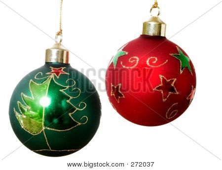 Two Christmas Balls Over White