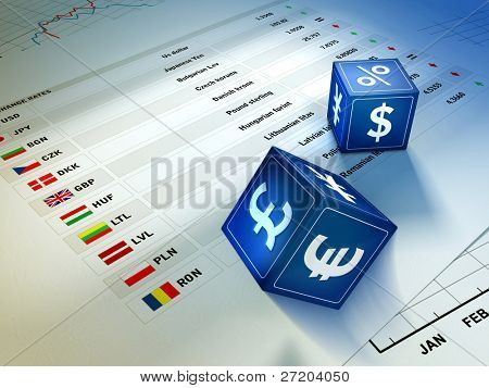 Two dices with currency symbols rolling on an exchange rates table. Digital illustration.
