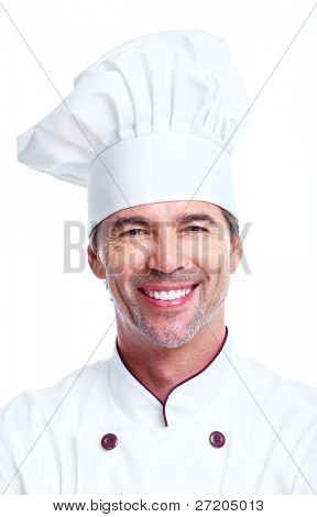 Handsome professional chef man. Isolated over white background