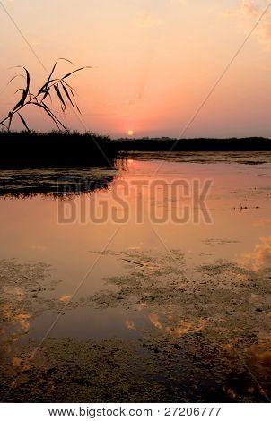 Nice sunset on river. Shoot in Ukraine, Dnepr River