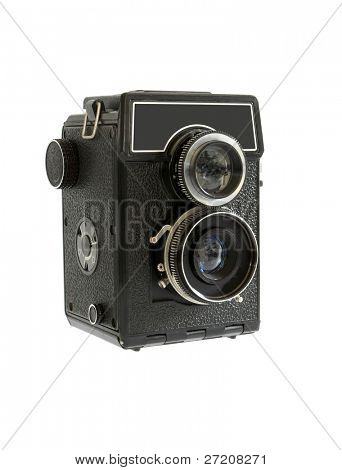Old photo camera isolated on white background