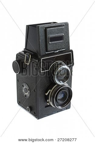 Old films photo camera - isolated on white