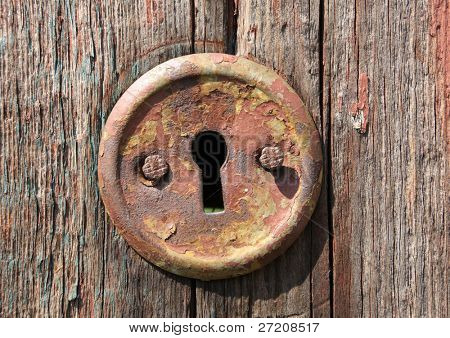 keyhole of old wooden door