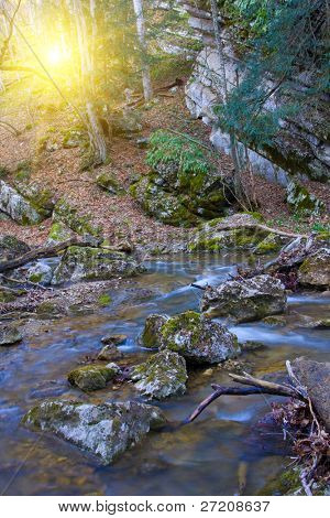 Stones in mountain river water in Crimea
