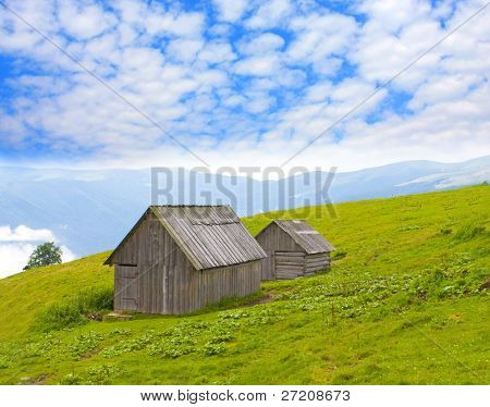 rural houses in mountains