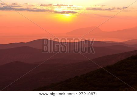 Nice sunset in crimean mountains