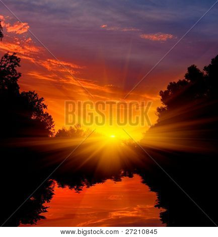 evening landscape with sunset on river