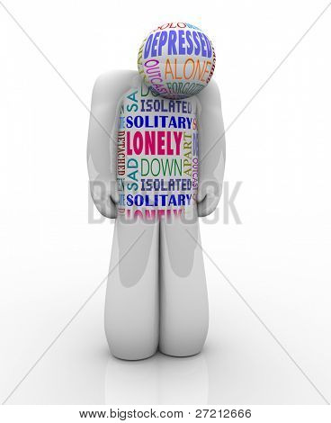 A person with words on his chest related to his feelings of emotional detachment: alone and lonlienss, isolated, detached, unloved and deserted