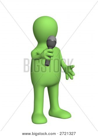 The 3D Person - Puppet, Singing With A Microphone