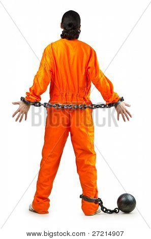Convict with handcuffs on white