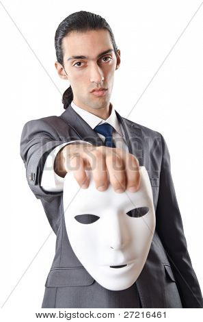 Industrial espionage concept with masked businessman