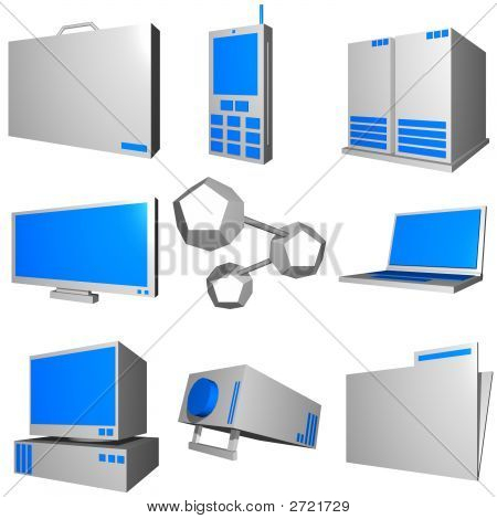 Information Technology Business Industry Icons Set - Gray Blue