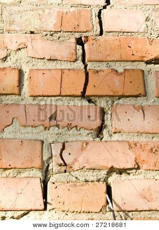 Brick wall with solution smudges