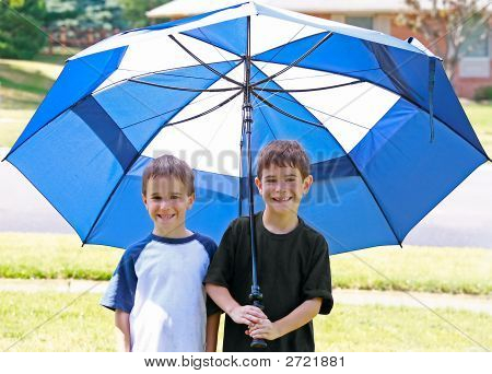 Boys Under An Umbrella