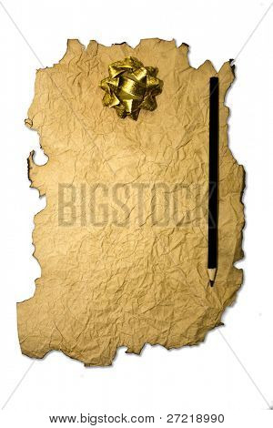 Scroll with Christmas decoration isolated on a white.