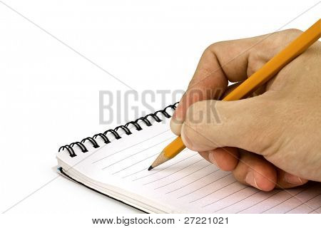 hand with pen ready for writing