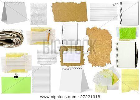 Tres rebanadas de papel aislado sobre fondo blanco