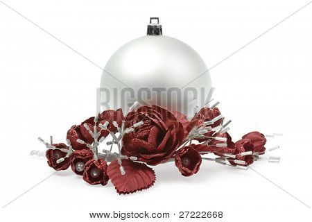 christmas bulbs on a white