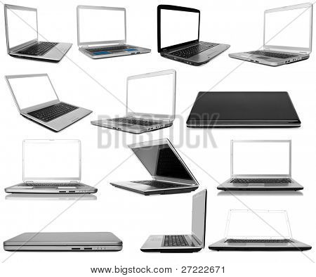Collection laptops on white background