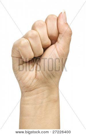 geballte Faust Hand Closeup weißen Hintergrund
