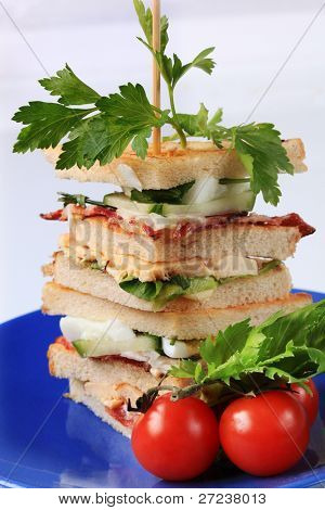 Sandwich quaters on a skewer (vegetable, roasted bacon, chicken steak, lovage), blue plate