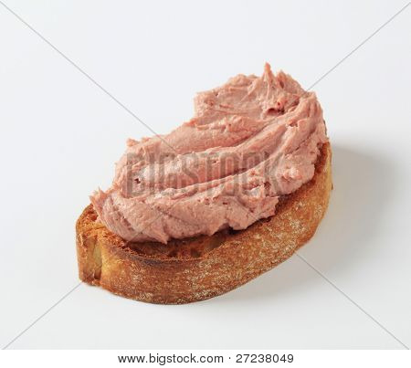 Fresh pate on the single slice of bread