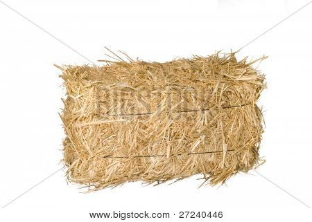 A bale of hay isolated on a white background.