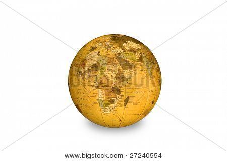 An isolated world globe shows Africa as its main focal point.