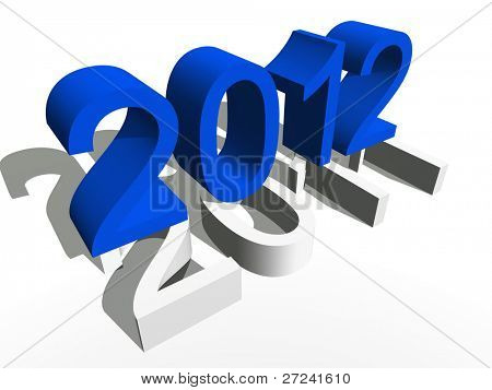 High resolution conceptual 2012 year in a row of years isolated on white background
