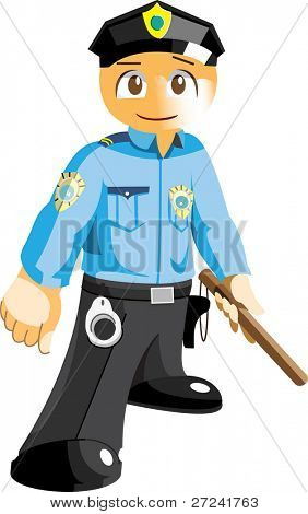 Young cute cop with nightstick