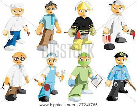 Diversas profesiones masculinas
