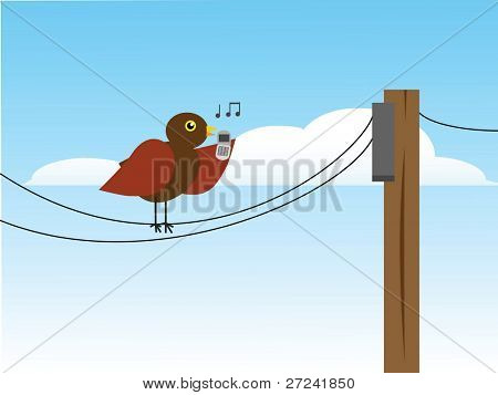 A songbird sings into a cell-phone