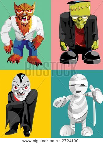 four classic halloween monsters