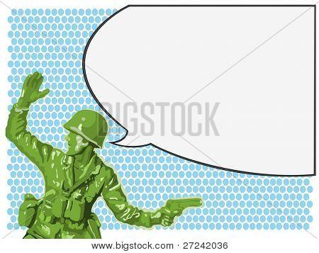 Soldado de juguete verde ordena a sus hombres para atacar