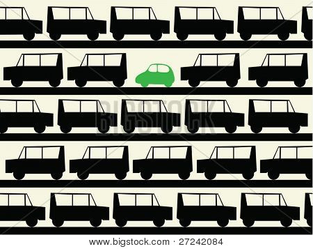 simple illustration of a small green family car in contrast to the large gas guzzling 4x4s.