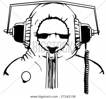 Young male listening to music on extra large headphones with a hoodie pulled tight.