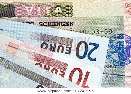 Travel in Europe: Schengen Visa and euro banknotes