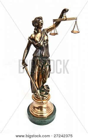 statuette of justice goddess Themis or Femida with scales and sword