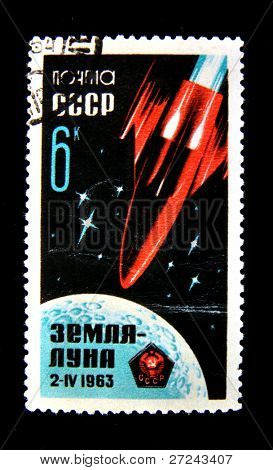 USSR - CIRCA 1963: A stamp printed in USSR shows Soviet space shuttle flight to the Moon.