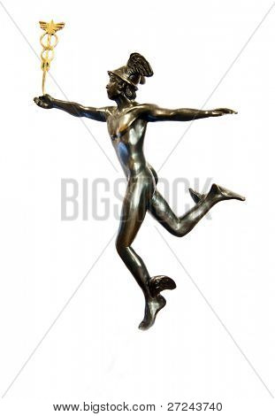 Mercury. God of commerce. An antique statue.