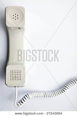 light gray telephone receiver