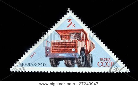 USSR-CIRCA 1971: A stamp printed in USSR shows Soviet auto BELAZ-540, circa 1971
