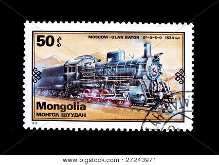 MONGOLIA - CIRCA 1979: A stamp printed in Mongolia shows vintage train Moscow - Ulan Bator, circa 1979
