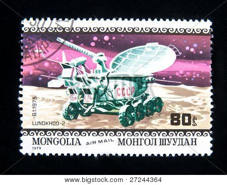 MONGOLIA - CIRCA 1979:  A stamp printed in Mongolia shows spaceship Viking-2, circa 1979 Series