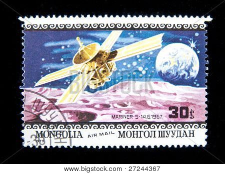 MONGOLIA - CIRCA 1979:  A stamp printed in Mongolia shows spaceship Lunochod-2, circa 1979 Series